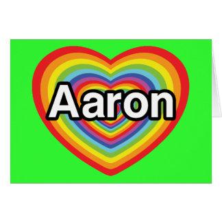 I love Aaron, rainbow heart Greeting Card