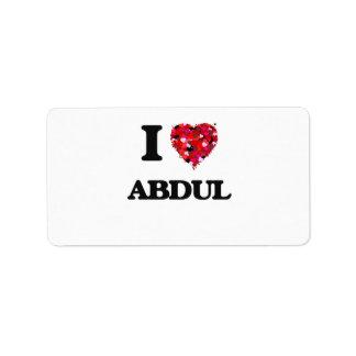 I Love Abdul Address Label