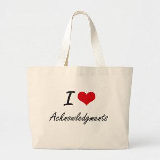 I Love Acknowledgments Artistic Design Jumbo Tote Bag