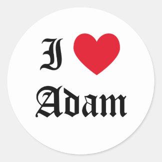I Love Adam Round Sticker