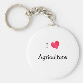 I Love Agriculture Basic Round Button Keychain