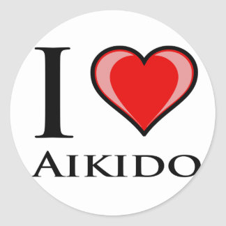 I Love Aikido Classic Round Sticker
