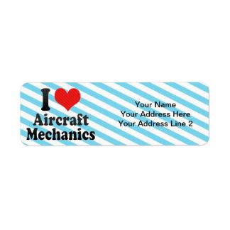 I Love Aircraft Mechanics Return Address Labels
