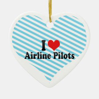 I Love Airline Pilots Ceramic Ornament