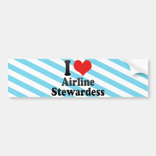 I Love Airline Stewardess Bumper Sticker