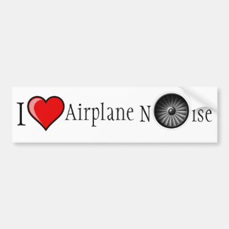 I Love Airplane Noise Bumper Sticker