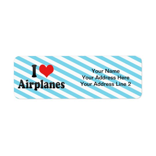 I Love Airplanes Return Address Label