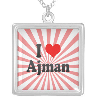 I Love Ajman, United Arab Emirates Silver Plated Necklace