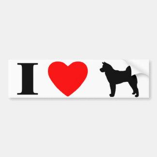 I Love Akitas Bumper Sticker