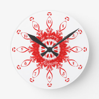 I Love Alabama Red Round Clock