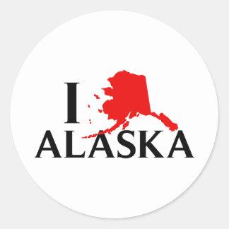 I Love Alaska - I Love AK State Round Sticker