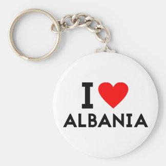 i love Albania country nation heart symbol text Keychain