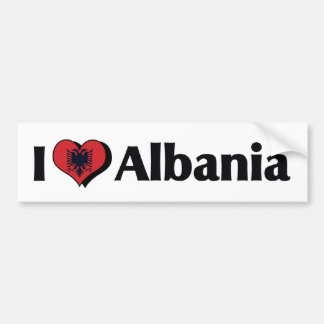 I Love Albania Flag Bumper Sticker