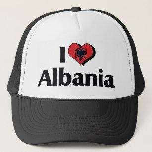 8599a325fda I Love Albania Flag Trucker Hat