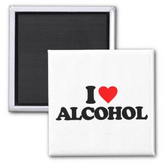 I LOVE ALCOHOL SQUARE MAGNET