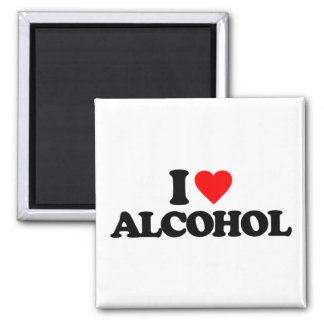 I LOVE ALCOHOL SQUARE MAGNET