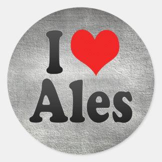 I Love Ales, France Round Sticker