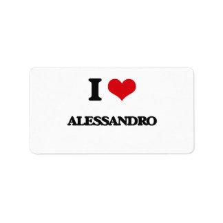 I Love Alessandro Address Label