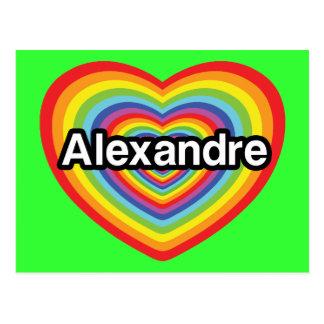 I love Alexandre, rainbow heart Postcard