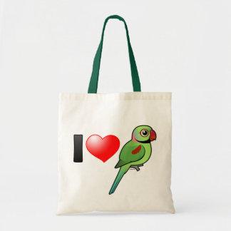 I Love Alexandrine Parakeets Tote Bag