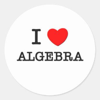 I Love Algebra Classic Round Sticker