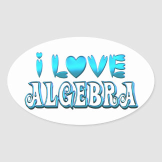 I Love Algebra Oval Sticker