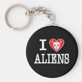 I Love Aliens Basic Round Button Keychain