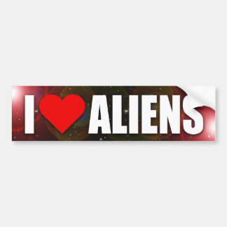 """""""I LOVE ALIENS"""" BUMPER STICKER"""