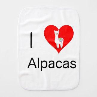 I love alpacas burp cloth