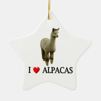 I love alpacas ceramic star ornament