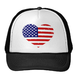 I Love America Grunge Heart Trucker Hat