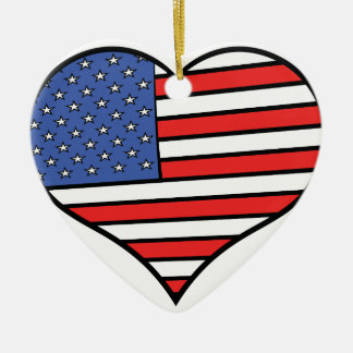 I love America -  United States of America pride Ceramic Heart Ornament