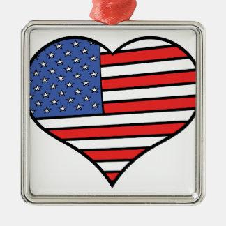 I love America -  United States of America pride Silver-Colored Square Ornament