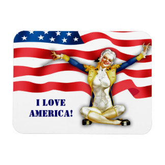 I Love America. US Patriotic Pin-Up Gift Magnet