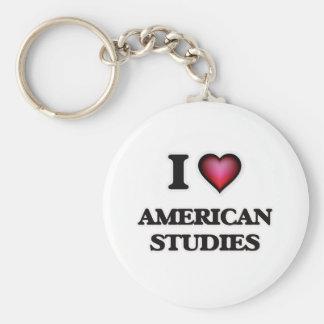I Love American Studies Basic Round Button Keychain