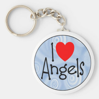 I Love Angels Basic Round Button Keychain