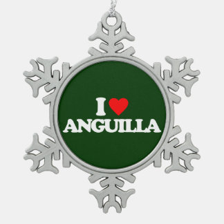 I LOVE ANGUILLA SNOWFLAKE PEWTER CHRISTMAS ORNAMENT