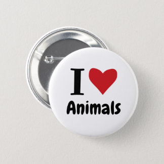 I Love Animals 2 Inch Round Button