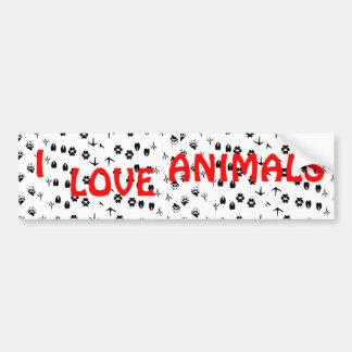 I LOVE ANIMALS Bumber Sticker Bumper Sticker