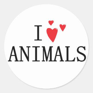 I love Animals Round Sticker