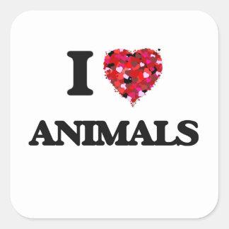I Love Animals Square Sticker