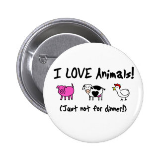 I Love Animals Vegetarian 2 Inch Round Button