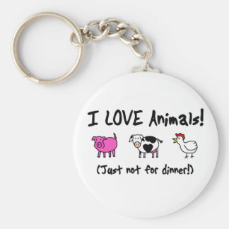 I Love Animals Vegetarian Keychain