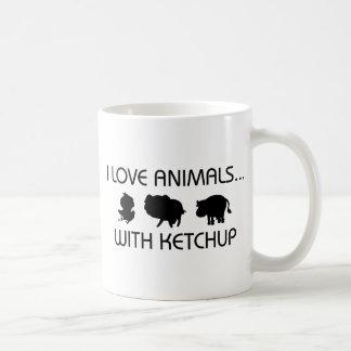 I Love Animals With Ketchup Basic White Mug
