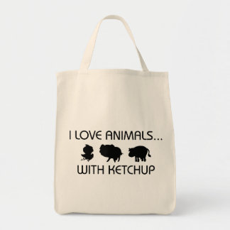 I Love Animals With Ketchup Grocery Tote Bag