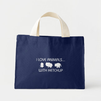 I Love Animals With Ketchup Mini Tote Bag