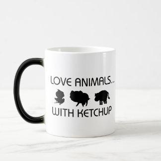 I Love Animals With Ketchup Morphing Mug