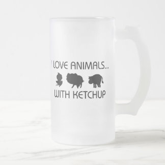 I Love Animals With Ketchup 16 Oz Frosted Glass Beer Mug