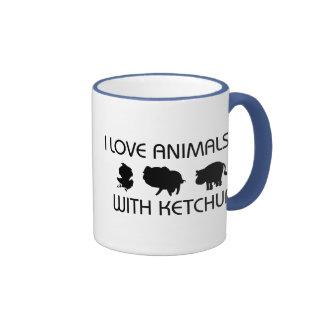 I Love Animals With Ketchup Ringer Mug