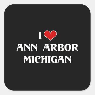 I Love Ann Arbor, Michigan Square Sticker